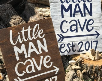 Little man cave/ reclaimed pallet wood sign/ woodland theme nursery/room