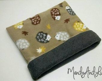 Tan & Grey Hedgehogs Fleece Snuggle Bag/Cuddle Sack - For Hedgehog / Rat / Guinea Pig / Chinchilla / Ferret / Sugar Glider / Small Animal