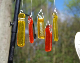 Wind chime in Yellow and Orange glass and driftwood, a perfect gift for the garden that makes a lovely sound in the wind