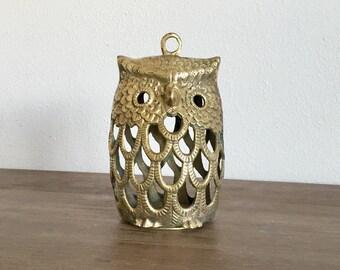 Vintage Brass Owl Candleholder; Vintage Candle Holder; Brass Owl Hanging Lantern; Solid Brass Owl Candleholder