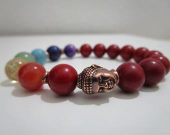 Pulsera Coral rojo Pulsera Siete chakras Joyeria budista Buda Pulseras Pulsera para mujer Regalo para mujer Yoga Pulsera meditacion