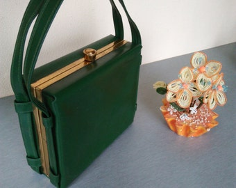Vintage  Green Suitcase / Vintage Retro Bag / Vintage Small Suitcase / Vintage Vanity Case / Travel Bag / Cosmetic Suitcase / Everyday Bag