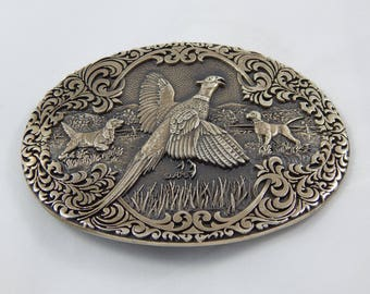 Vintage Brass Belt Buckle Pheasant