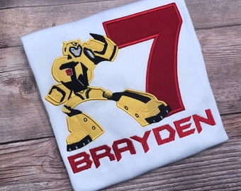 Transformers Inspired Birthday Embroidered Shirt, Numbers 1- 9, Bumble Bee, Ratchet, Optimus Prime Birthday Shirt,