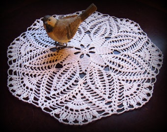 "White Crochet Doily--Star Flower Doily--15-1/2""-- Free Shipping"
