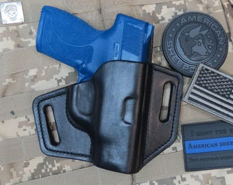 M&P Shield 9mm - .40, Leather Custom Holster With Sweat Shield, Concealed Carry, Made in USA.