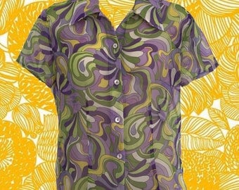 Vintage 70's Pucci-esque Sheer Shirt • Swirls of Purple, Green, Yellow and White • Wide Collar • Button-down • Short Sleeves • Funky & Cool