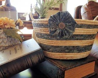 Fabric basket, Coiled rope basket, Stonehenge fabric basket, Storage basket, Blue and Beige color basket, Homemade, Handmade, Clothesline