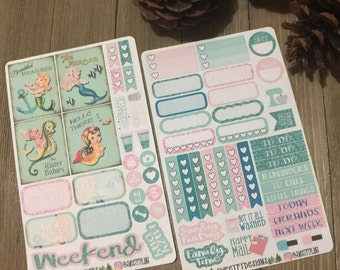 "Small Weekly Planner Sticker Kit ""Vintage Mermaid"""