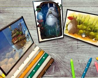 Studio Ghibli Poster Set, Print, My Neighbor Totoro, Princess Mononoke, Spirited Away, Moving Castle, Miyazaki Japanese Movie, Film Poster