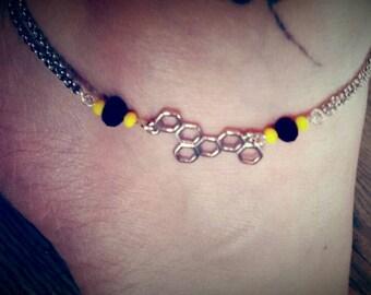 Bracelet ankle, yellow, black, honey