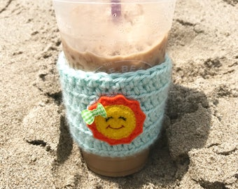 Sun Coffee Cozy- Coffee Sleeve- Mason Jar Cozy - Sun Coffee Cup Cozy - Summer Coffee Cozy- Summer - Florida - Sunshine - Here Comes the Sun