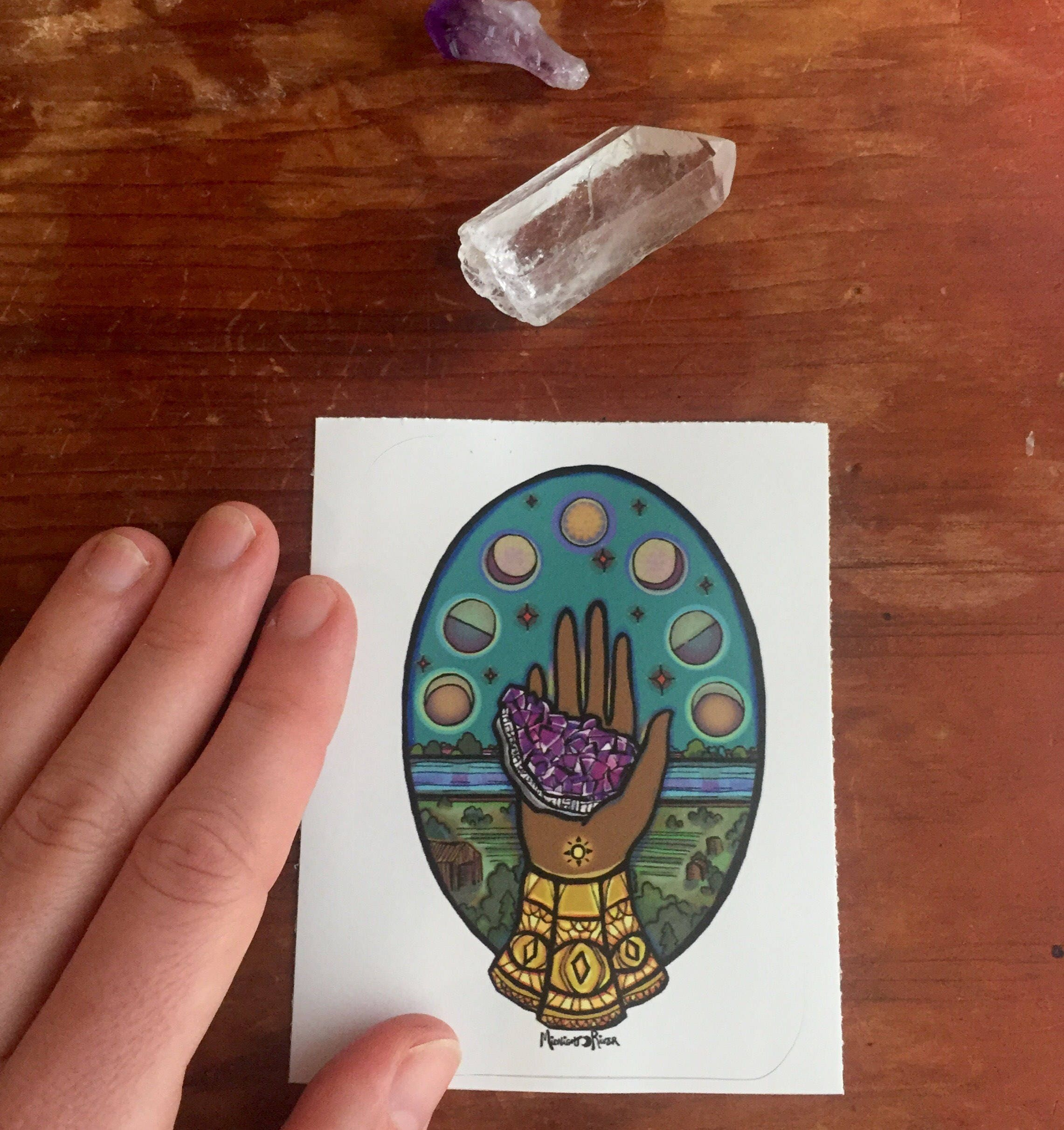 Sticker Amethyst Offering // Hand Holding Crystal Illustration / 3x3 / Moon Phases, Water, All-Seeing Eye, Gemstone / Magical Nature Art