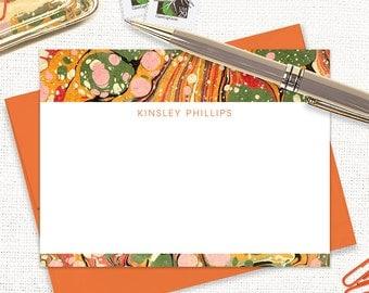 personalized flat note cards set - vintage marble paper KINSLEY ORANGE - set of 12 cards - custom stationary - stationery for girls