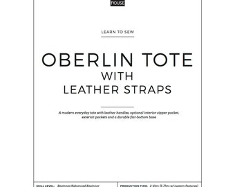 Learn to Sew Oberlin Canvas Tote bag with LEATHER HANDLES-Full Pattern & Instructions, downloadable PDF: Easy, Beginner downloadable pattern