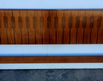 Mid Century Rosewood and Teak King Size Headboard