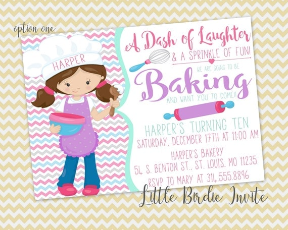 Cake Decorating Birthday Party Invitations : Baking Birthday Invitation Cake Decorating Birthday