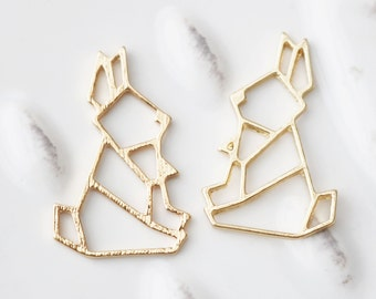 Origami Bunny Charm, Rabbit Charm, Bunny Rabbit Charm, Animal Charm, Gold Animal Charm, Gold Bunny Charms, Set of 4, 0131