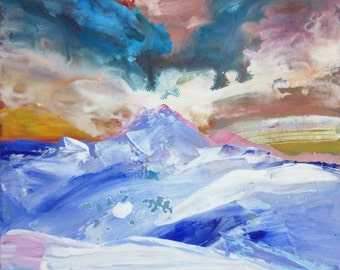 Original Painting Abstract Landscape - Mt Baker, Washington.
