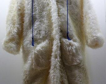 Winter Coat. Swiss edelweiss ribbon.  Hooded.   Plush off-white fake fur.
