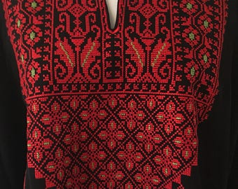 Black Chiffon Top with Red and Green Palestinian Embroidery