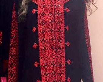 CLEARANCE - last one left!!!! Black Chinese style Jacket with red embroidery on front and sleeves