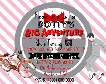 Personalized Pee-Wee Herman Birthday Invitation (PINK)