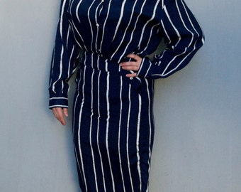 Vintage 1980's navy blue striped button up nautical military dress