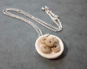 Miniature Donut Necklace, Polymer Clay Necklace