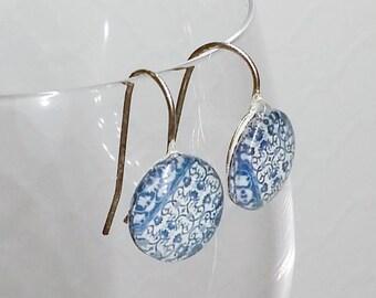 Vintage Blue Vines Dangle Earrings, Silver-plated setting, 10mm