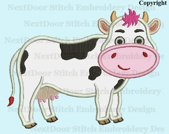 Cow embroidery applique design,  farm cow machine embroidery,  cow-007