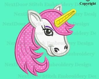Unicorn embroidery applique design, girly unicorn head, horse-007