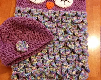 Owl Baby Cocoon and Hat Set