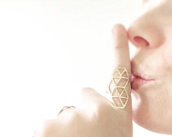 Geometric Gold plated adjustable rings set