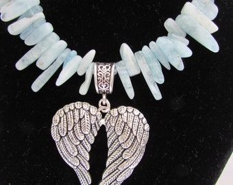 Heavenly blue Aquamarine and Angel Wings
