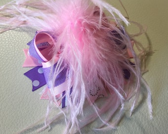 Pink and Lavender Over The Top Hair Bow,Girls Hair Bow ,Over The Top Hair Bows, Baby Headband ,Over The Top Baby Headband ,Big Bow Headband