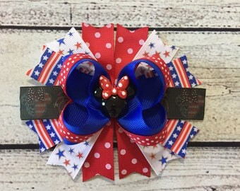 4th of July Hair Bow, Patriotic Hair Bow ,Patriotic Minnie Mouse Hair Bow ,Patriotic Boutique Hair Bow ,Baby Headband ,Minnie Mouse Hair Bow