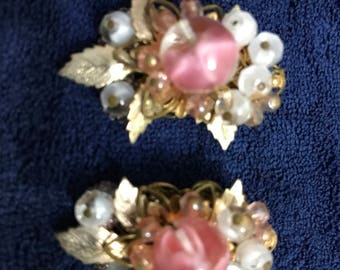 Mirriam Haskell earring and vintage brooch