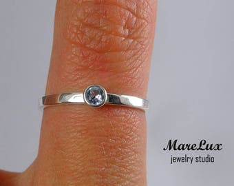 Flat Band 3 mm Aquamarine Silver Ring, March Birthstone Band Light Blue Synthetic Aquamarine Stackable 2 mm Band Aquamarine Engagement Band