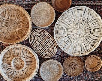 Set of 9 Wall Hanging Baskets, Wall Hanging, Baskets, Basket Wall Art, Hanging Basket, Woven Basket, Bohemian Decor