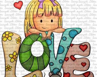 Image #15 - Love - Digital Stamp by Sasayaki Glitter Digital Stamps - Naz - Line art only - Black and white