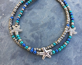 Beach Anklet, Starfish Anklet, Ankle Bracelet, Anklet, Beaded Anklet, Beach Jewelry, Ankle Jewelry, Vacation Jewelry