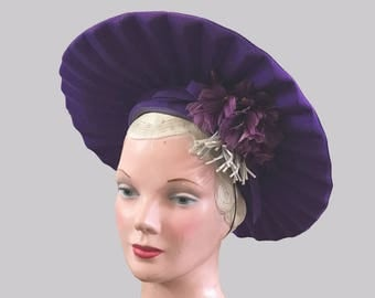 1940s-50s Purple Pleated Hat with Accordion Pleating and Flower Detail Mr John