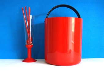 Bodum Red Ice Set  - Vintage Retro Mod Ice Bucket Champagne Glasses Red Spoons Barware Picnic BBQ - Made in Switzerland Swiss Design