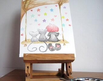 Original watercolour painting, nursery room art, Cute painting, illustration art, stargazing, girl on a swing painting, beautiful painting