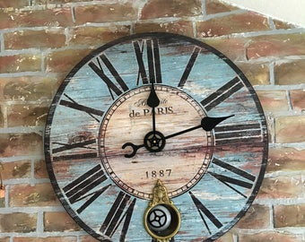"8-1/2""  Black 6 Pc. Extra Large Wall Clock Kit ~DIY~High Torque Pendulum Movement XL Giant Gear Hands Motor *37 Colors* Makes A 17""- Set"