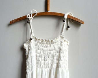 Vintage white cream maxi dress with lace embroidery detailing