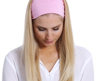 Photo Prop Running Headband Pink Yoga Headband Handmade Stretchy Headband Running Head Wrap Workout Headband Photo Prop Hippie Headpice