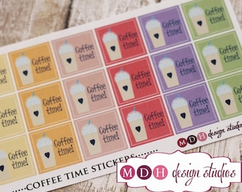 Coffee Planner Stickers, Iced Coffee Stickers, Planner Stickers