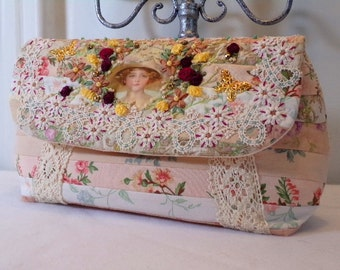 Quilted Clutch Purse Bag Ribbon Embroidery Romantic Victorian Style RPC7-04